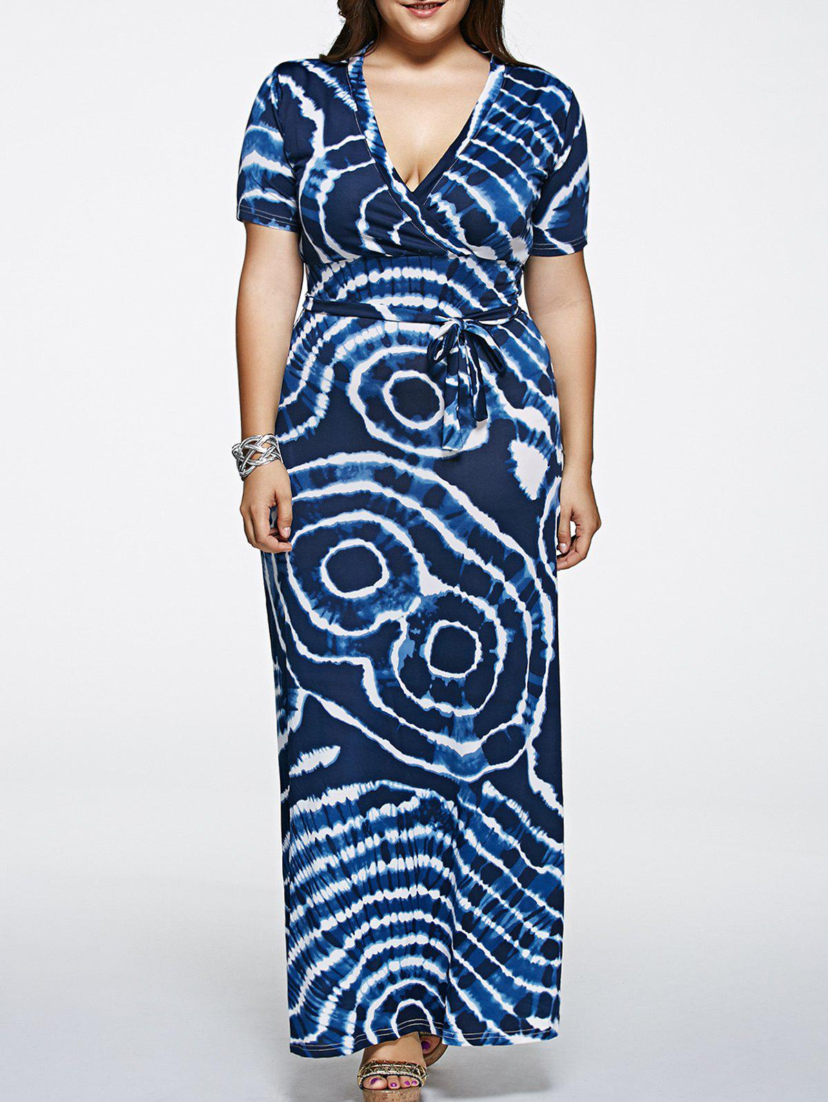 27abe2814063 60% OFF] Short Sleeve Plus Size Tie-Dyed Maxi Dress | Rosegal