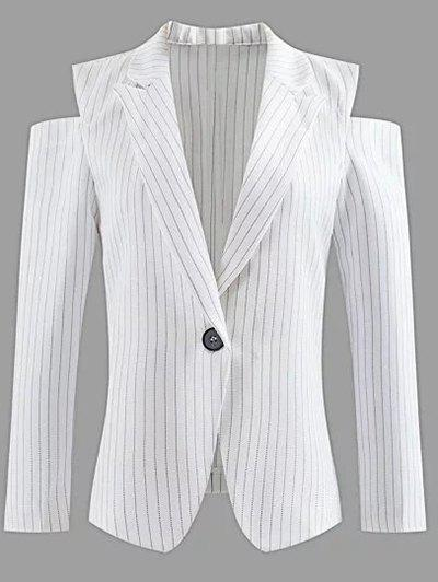 Affordable Lapel One-Button Striped Cut Out Cold Shoulder Blazer