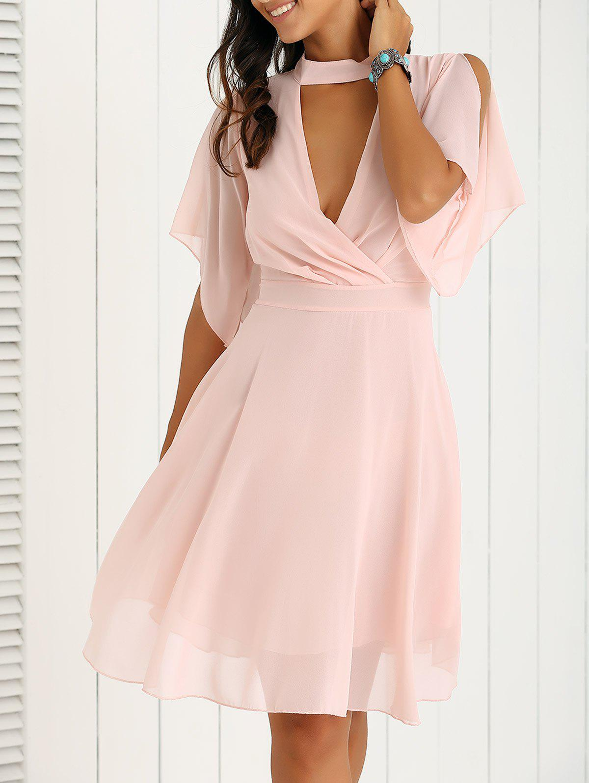 Petal Sleeve Knee Length Chiffon Pastel Pleated DressWOMEN<br><br>Size: XL; Color: PINK; Style: Casual; Material: Polyester; Silhouette: A-Line; Dresses Length: Knee-Length; Neckline: Keyhole Neck; Sleeve Length: Short Sleeves; Pattern Type: Solid; With Belt: No; Season: Summer; Weight: 0.216kg; Package Contents: 1 x Dress;