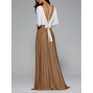 Backless Pleated Long Sleeve Maxi Prom Dress