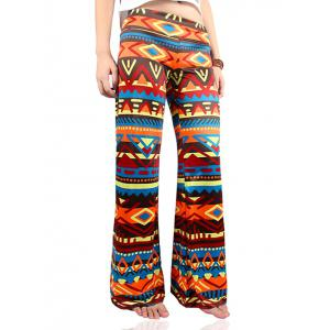 Wide Leg Tribal Colorful Print Palazzo Exumas Pants - Colormix - S