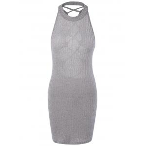 Hollow Out Ribbed Bodycon Bandage Mini Dress - Gray - M