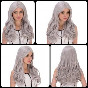 Charming Long Middle Part Wavy Silver Grey Cosplay Lolita Synthetic Wig For Women - Silver Gray