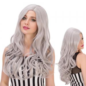 Attractive Wavy Long Side Parting Gray Mixed Cosplay Lolita Synthetic Wig