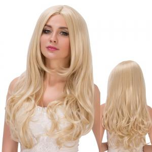 Sparkling Layered Wavy Long Centre Parting Bright Golden Synthetic Wig For Women