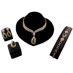 A Suit of Teardrop Faux Emerald Jewelry Set - Golden - One-size
