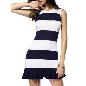Striped Flounce Sleeveless Sweater Dress - Stripe - One Size