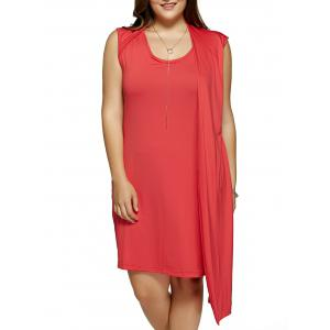 Plus Size One-Side Overlay Cocktail Dress