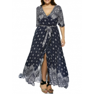 Plus Size Boho Print Flowy Beach Wrap Maxi Dress - Deep Blue - 3xl