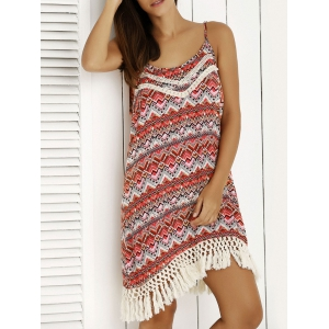 Ethnic Print Tassel Boho Summer Cami Dress - Red - M