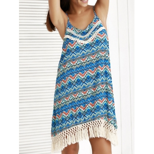 Ethnic Print Tassel Boho Summer Cami Dress