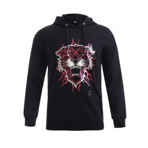 BoyNewYork Black Hooded 3D Tiger Head Print Hoodie