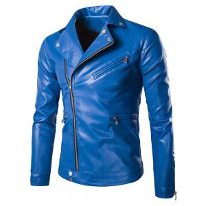 Solid Color Zippered Snap Buttoned Long Sleeve Faux Leather Jacket For Men - Blue - 2xl