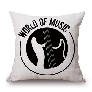 World of Music Print Linen Sofa Bedding Pillow Case