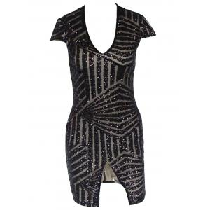Plunging Neckline Sequin Mini Bodycon Dress