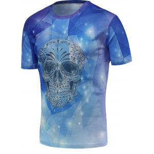 Fashion 3D Skull Print Round Neck Trippy T-shirt