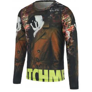 3D Ghost Printed Round Neck Long Sleeve T-Shirt For Men