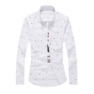 Tiny Polka Dot Print Turn-Down Collar Long Sleeve Shirt For Men