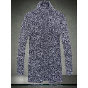 Casual Style Loose-Fitting Long Cardigan For Men - Blue - Xl