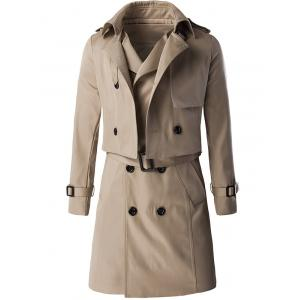 Trendy Double Breast Belted Trench Coat Twinset For Men