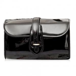 Stylish Buckle and Chain Design Crossbody Bag For Women - Black