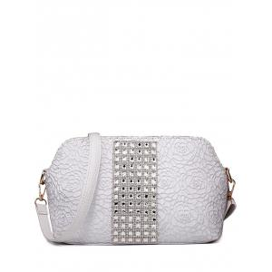 Graceful Lace and Rhinestones Design Shoulder Bag For Women - Silver - 39
