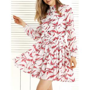 Long Sleeve Pleated Swing Print Dress