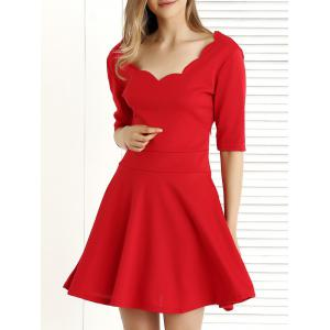 Pure Color 1/2 Sleeve Pleated Dress - Red - L