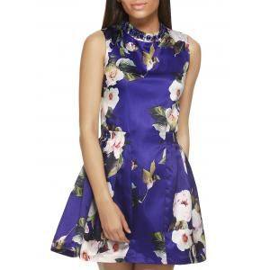 Sleeveless Round Neck Floral Print Dress - Blue - S