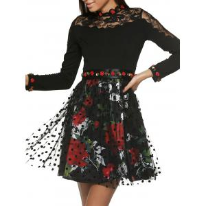 Long Sleeve Floral Belt Tie Printed Spliced Dress - Black - S