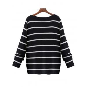 Oversized Boat Neck Long Sleeve Striped Sweater - Black - 2xl