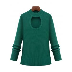 Plus Size Cut Out Keyhole Knitted Sweater - Green - 3xl