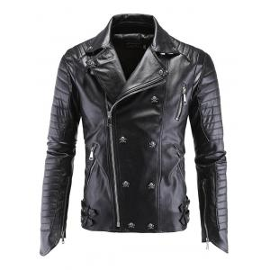 Lapel Collar Skull-Buttons Design Long Sleeve Leather Jacket - Black - 2xl