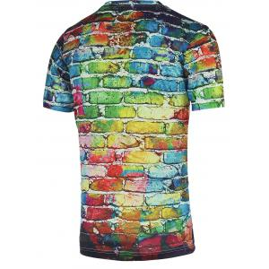 Colorful Brick Wall Print Round Neck Short Sleeve Tee For Men -