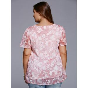Sweet V Neck Floral Plus Size T-Shirt -