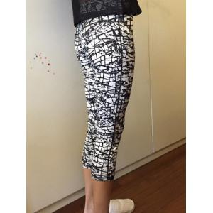 High-Waisted Gym Patterned Cropped Pants - WHITE AND BLACK XL