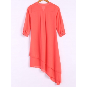 Women's Trendy V-Neck 1/2 Sleeve Pure Color Asymmetrical Dress -