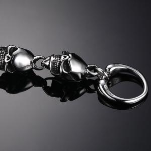 Chic Burnished Skulls Bracelet For Men -