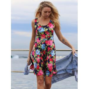 Fresh U Neck Sleeveless Floral Printed Dress -