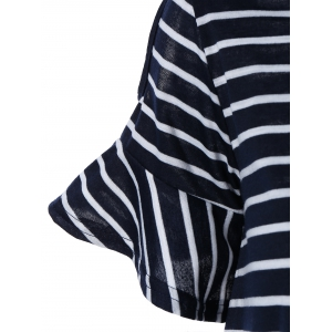 Trendy Cold Shoulder Striped Loose Fitting Dress -