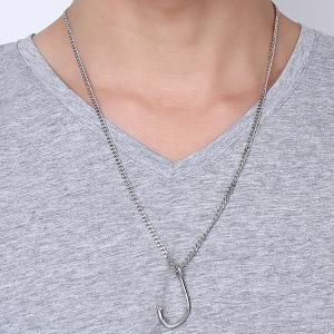 Chic Polished Fishhook Pendant For Men - SILVER