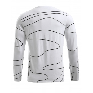 BoyNewYork Irregular Stripes Pattern Long Sleeves T-Shirt - WHITE XL
