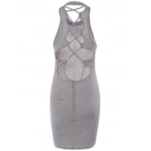 Hollow Out Ribbed Bodycon Bandage Mini Dress - GRAY M