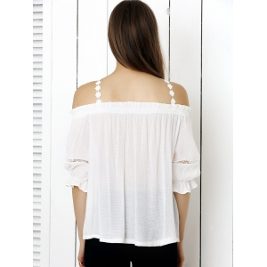 Refreshing Laciness Criss Cross Solid Color Women's Blouse -