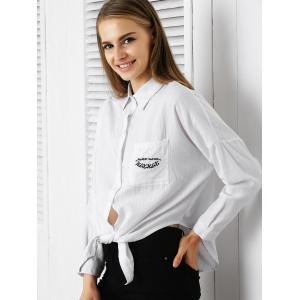 Chic Shirt Collar Embroidered Pocket Design Women's Shirt -