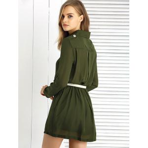 Long Sleeve Pure Color Slimming Dress -