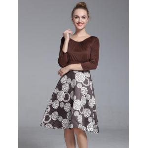 Chic Scoop Neck Three Quarter Sleeve Printed Dress For Women - COFFEE XL