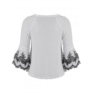 Ethnic Style Tassel Tie Embroidered Blouse -