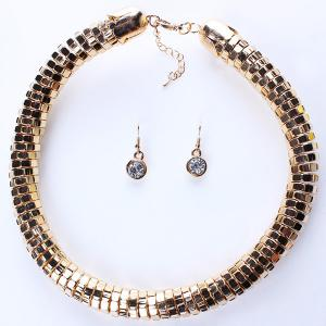 A Suit of Stylish Chain Statement Necklace and Earrings For Women -