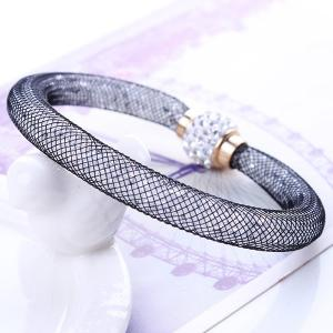 A Suit of Stylish Rhinestone Knitted Necklace and Bracelet For Women -